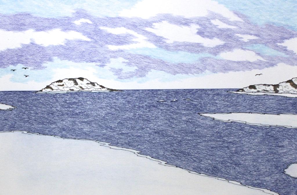 Mother Raven, 3 Children (191-0544)<Br>Nicotye Samayualie<Br>23 x 30<Br>Coloured Pencil on Paper<Br>$ 1350