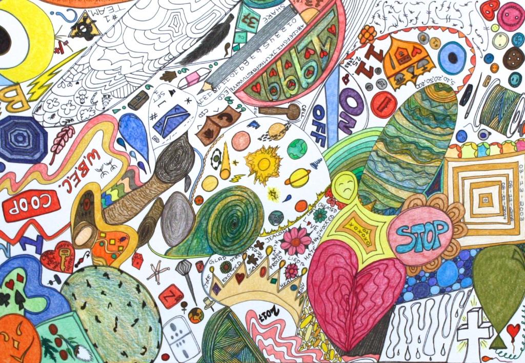 On Meds (191-0547)<Br>Nicotye Samayualie<Br>23 x 30<Br>Coloured Pencil on Paper<Br>$ 1250