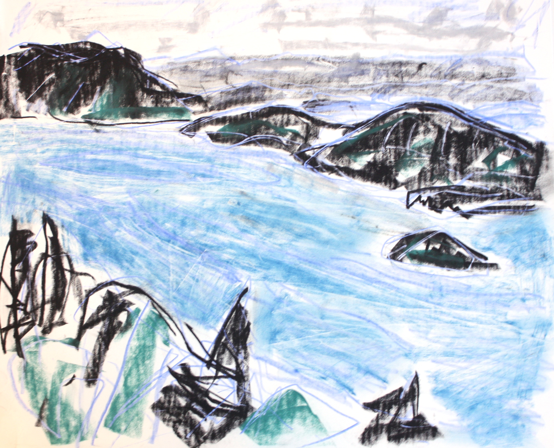 Saanich Inlet <br> Barry Hogson <br> 10 x 12 <br> Pastel on Paper <br> $ 845