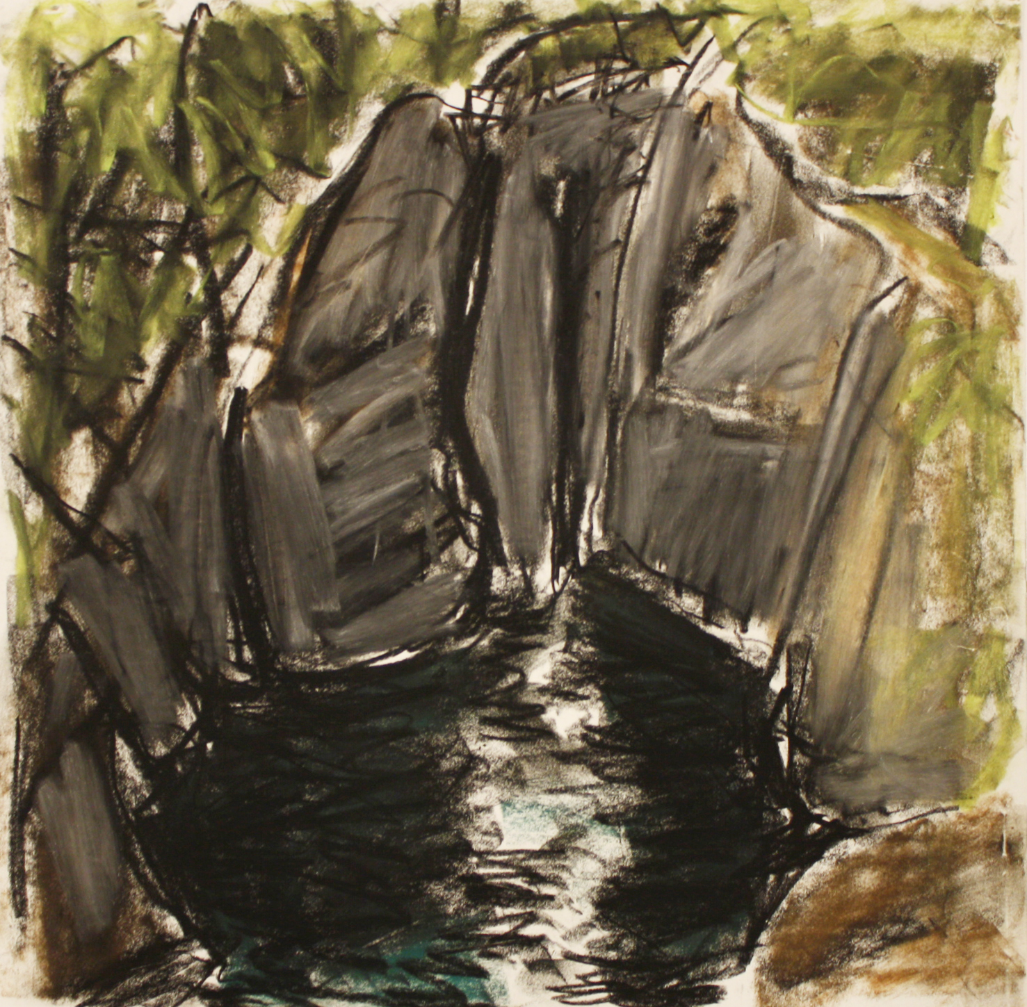 Below Englishman River Falls <br> Barry Hodgson <br> 10 x 10 <br> Pastel on Paper <br> $ 780