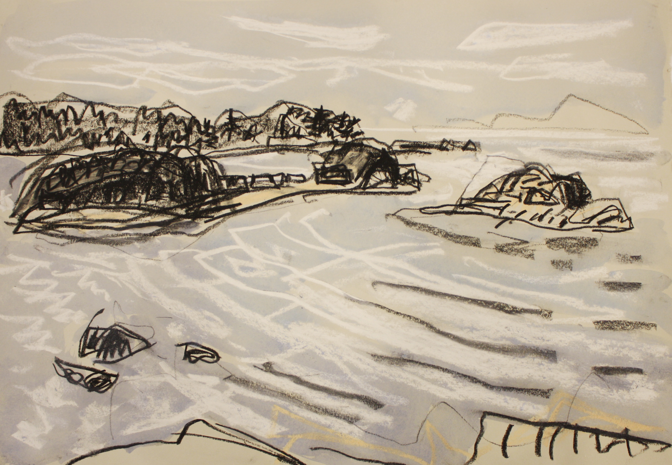 The Shack Islands, Pipes Lagoon <br> Barry Hodgson <br> Pastel on Paper <br> 20 x 14 <br> $1425