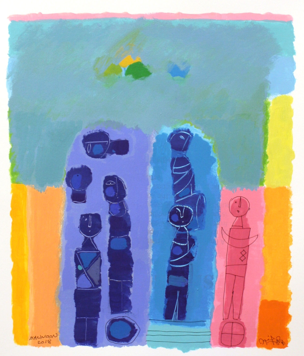 Green Village I <br> Hashim Hannoon <br> 24.5 x 19.5 <br> Acrylic on Paper <br> $ 2000