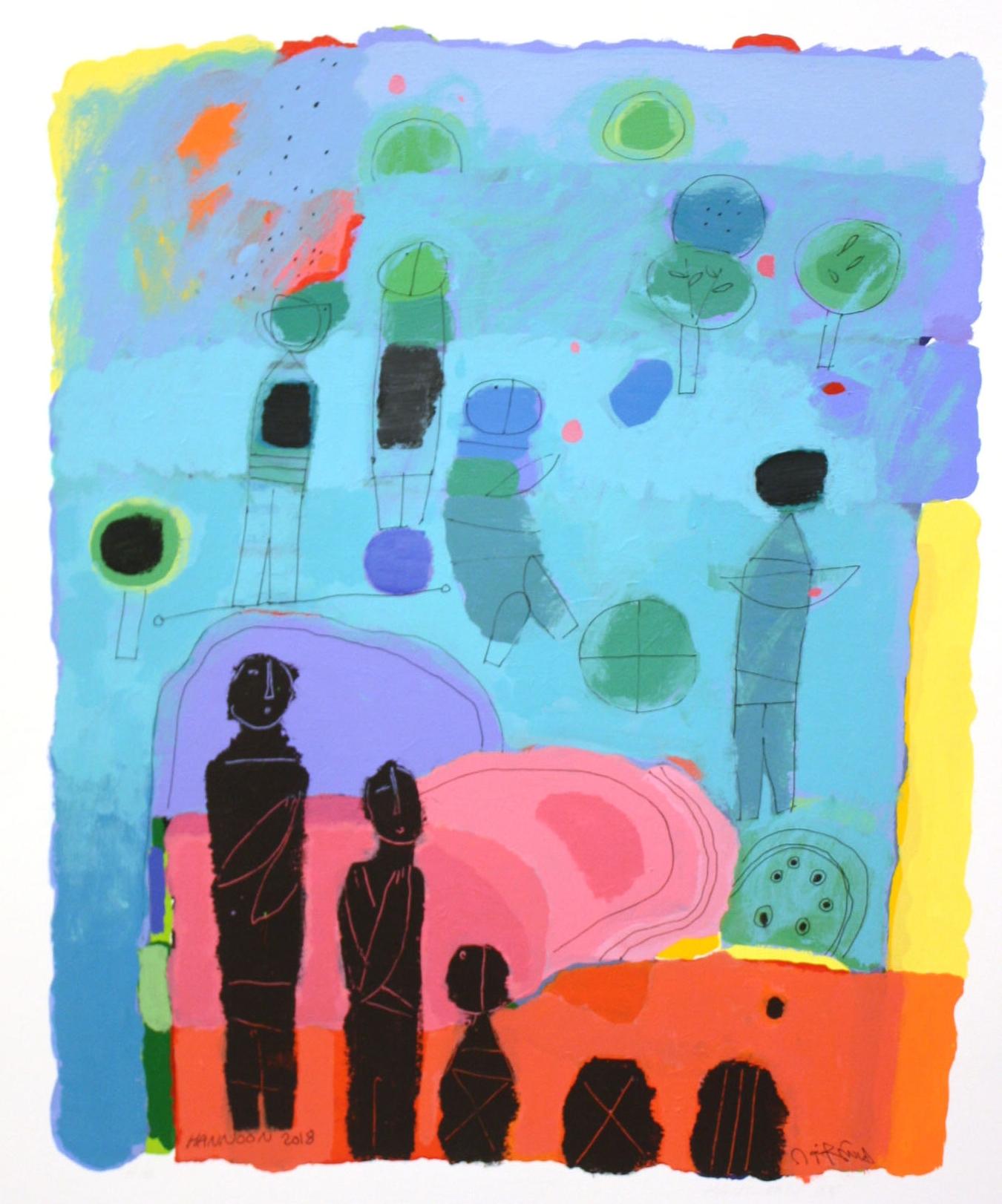 Green Village II <br> Hashim Hannoon <br> 24.5 x 19.5 <br> Acrylic on Paper <br> $ 2000