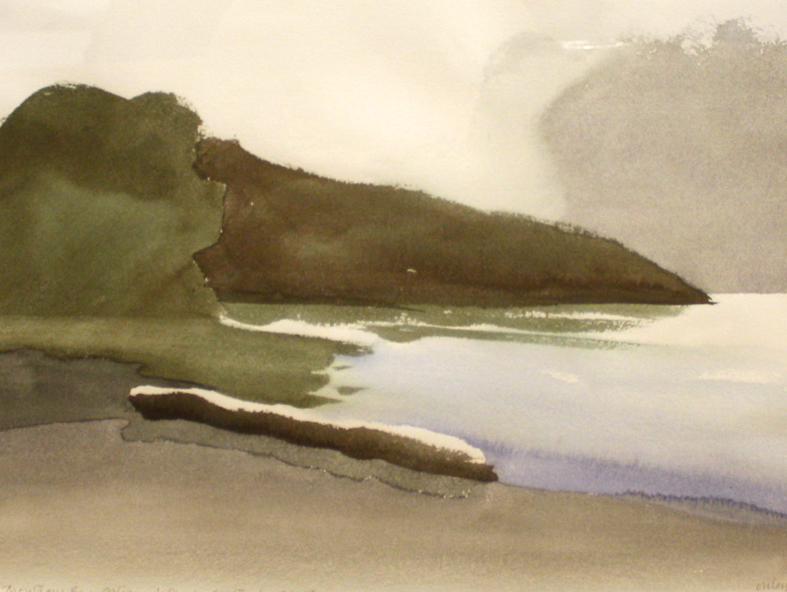 Toni Onley<br>Galiano Island - Montegue Bay<br>11 x 15<br>Watercolour<br>1976<br>SOLD