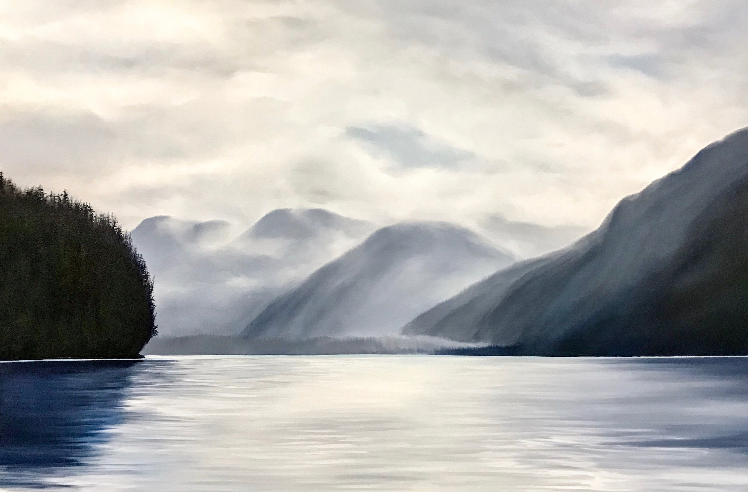 Soft Fog at Phillips Head 24 x 36 Oil on Canvas SOLD