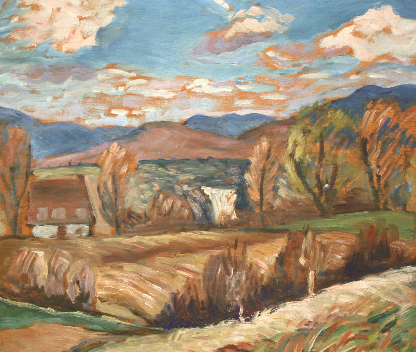 Anne Savage<br>Autumn Landscape<br>12 x 14<br>Oil on Board<br> C. 1950