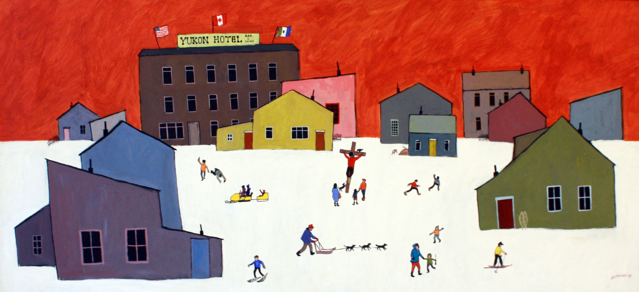Ted Harrison - Yukon crucifixion - 23 x 48 - acrylic on BOard - 1969 SOLD