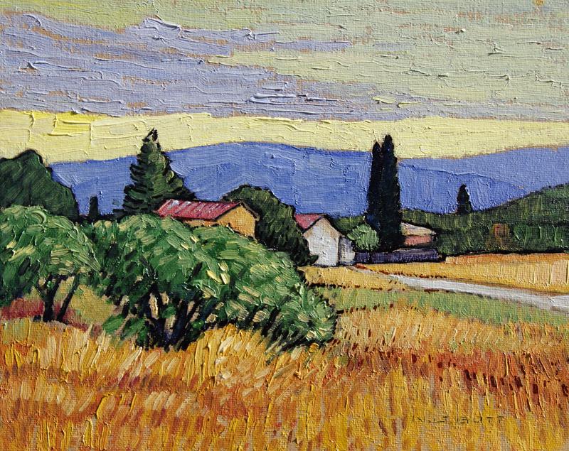 Summer Village<br>8 x 10<br>Oil on Canvas<br>SOLD