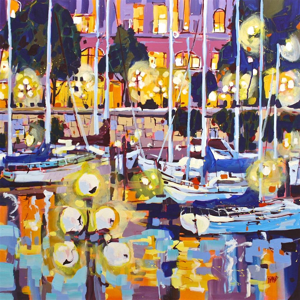 Night Lights<Br>40 x 40<Br>Acrylic on Canvas<Br>SOLD