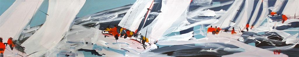 Regatta Seas<Br>12 x 60<Br>Acrylic on Canvas<Br>SOLD