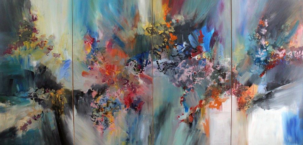 Franz Schubert, Tout Quintet, Quartet<Br>65 x 144<Br>Acrylic on Canvas<Br>SOLD