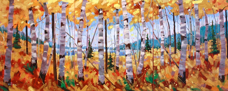 Graham Forsythe <br> Confetti Triptych<br> 36 x 90 <br>Oil on Canvas <br>$ 7900