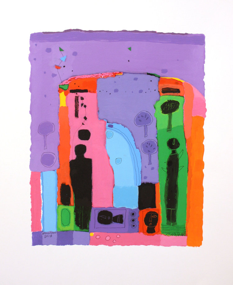 Hashim Hanoon <Br> 1 Wonderful World <Br>24.5 x 19.5<Br>  Acrylic on Paper<Br>  SOLD