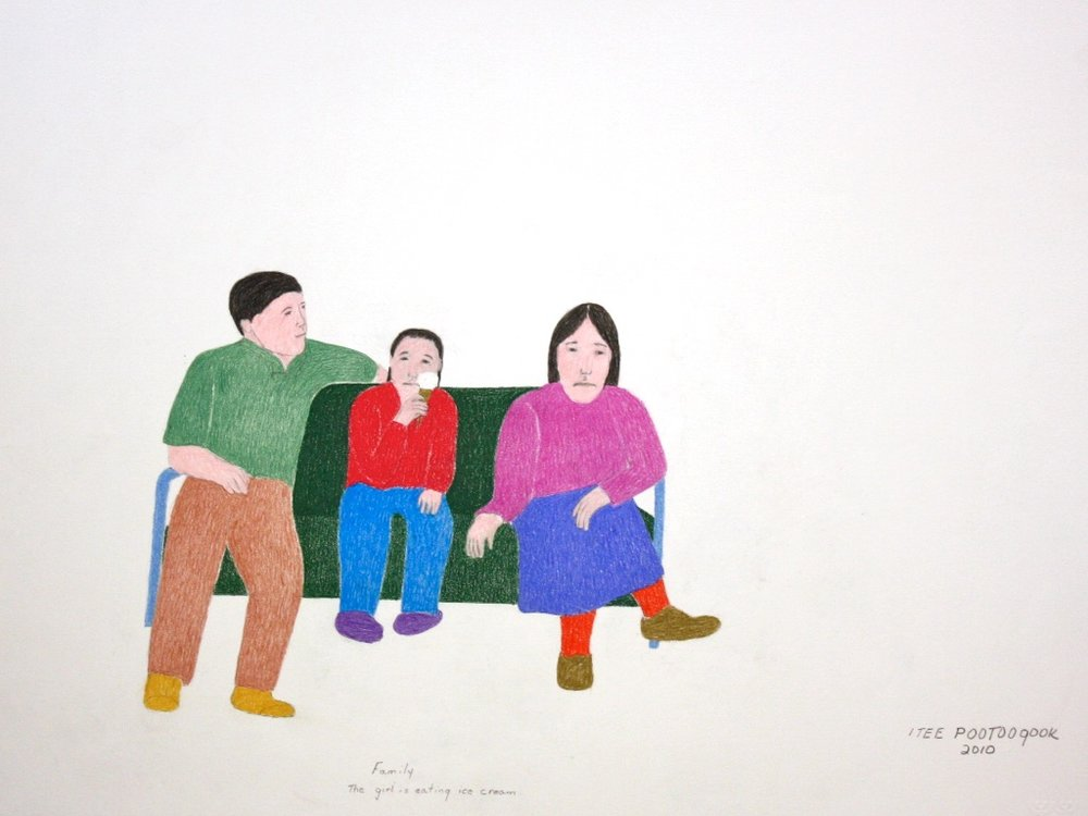 Itee Pootoogook <Br> Family, The Girl is Eating Ice Cream <Br> 20 x 26 <Br>Graphite, Colour Pencil and Ink <Br>$ 1150