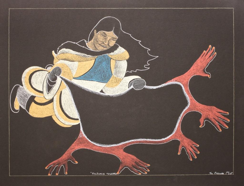 Piujimik Tugaau <Br> 20x26<Br>Graphite, colour pencil and ink<Br> SOLD