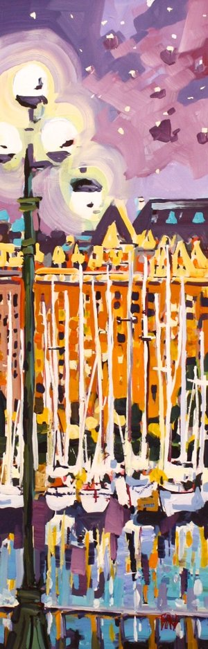 Rick Bond <Br> White Boats <Br>36 x 12<Br> Acrylic on Canvas<Br> $ 2150