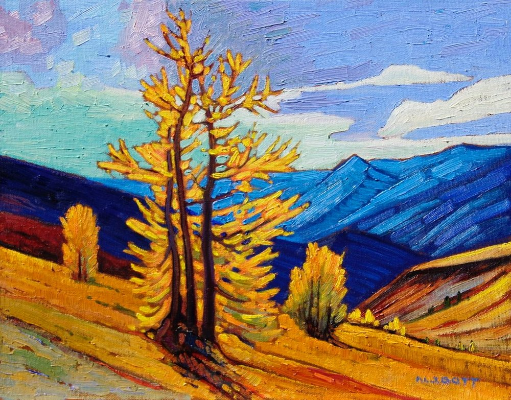 Nicholas Bott <br> October Larches <br> 11x14 <br> Oil on Board <br> SOLD