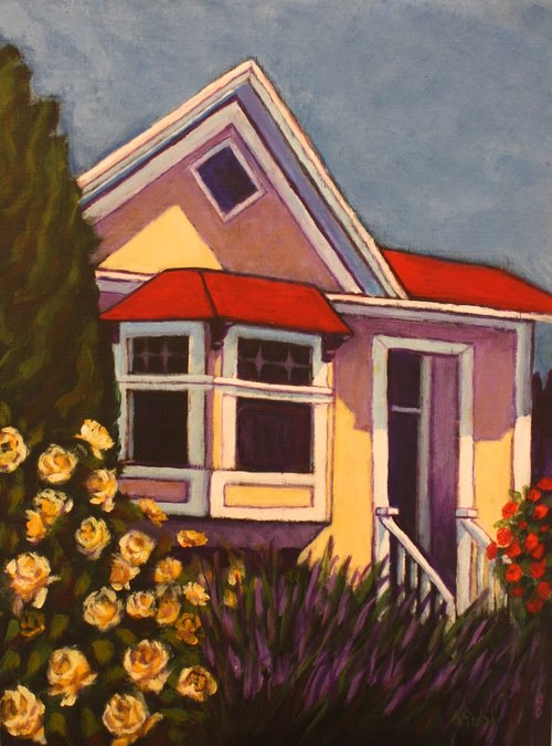 Nancy Ruhl <Br> The Rose House	<Br>  16 x 12<Br> 	 Acrylic on Canvas<Br> 	 $ 500