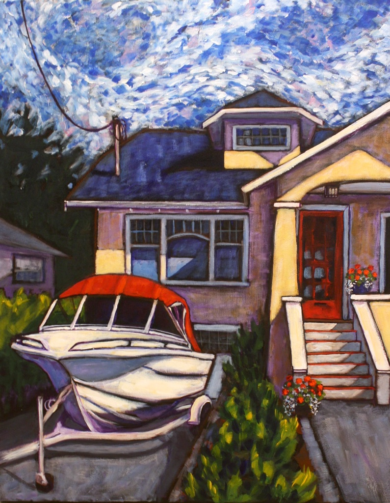 The Boat and House on Moss Street  30x24  Acrylic on Canvas  SOLD