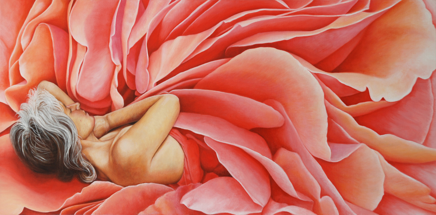 Ma Vie en Rose<Br>24 x 48<Br>Oil on Canvas<Br>$ 4500