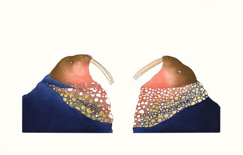 Ningiukulu Teevee - Glittering Walrus - 30 x 48- Etching, Aquatint, Hand Colouring.jpg