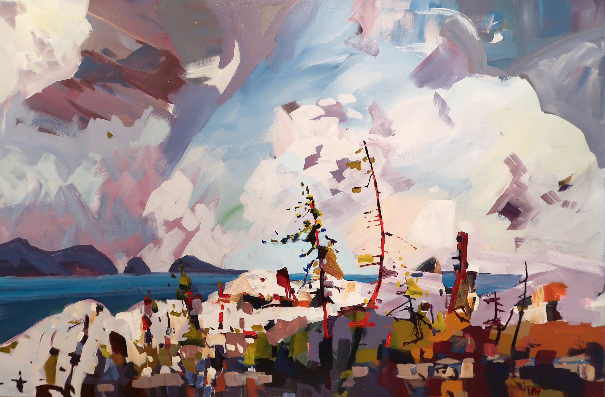 Islands in the sky, 40 x 60 inches, acrylic on canvas, SOLD