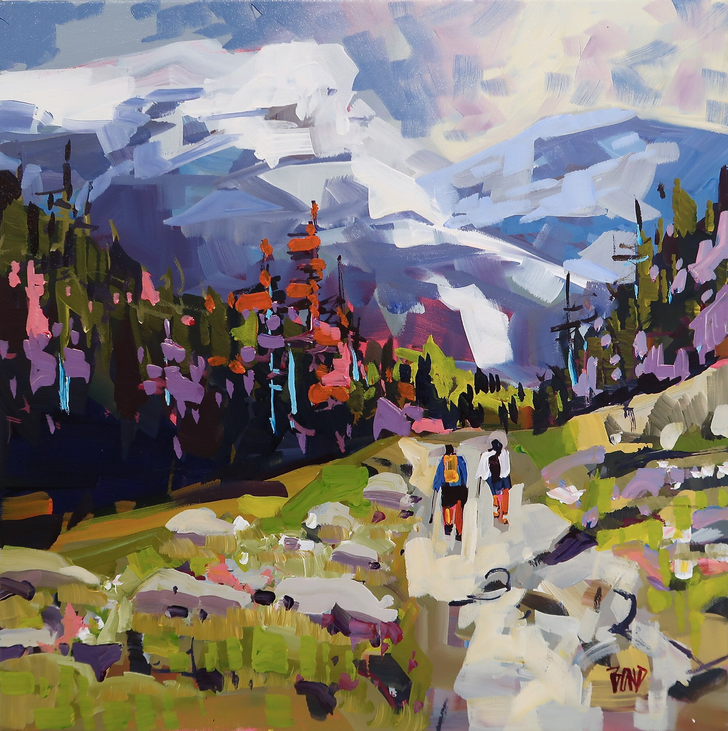 Hiking the Alpine 24 X 24 Inches Acrylic on Canvas SOLD