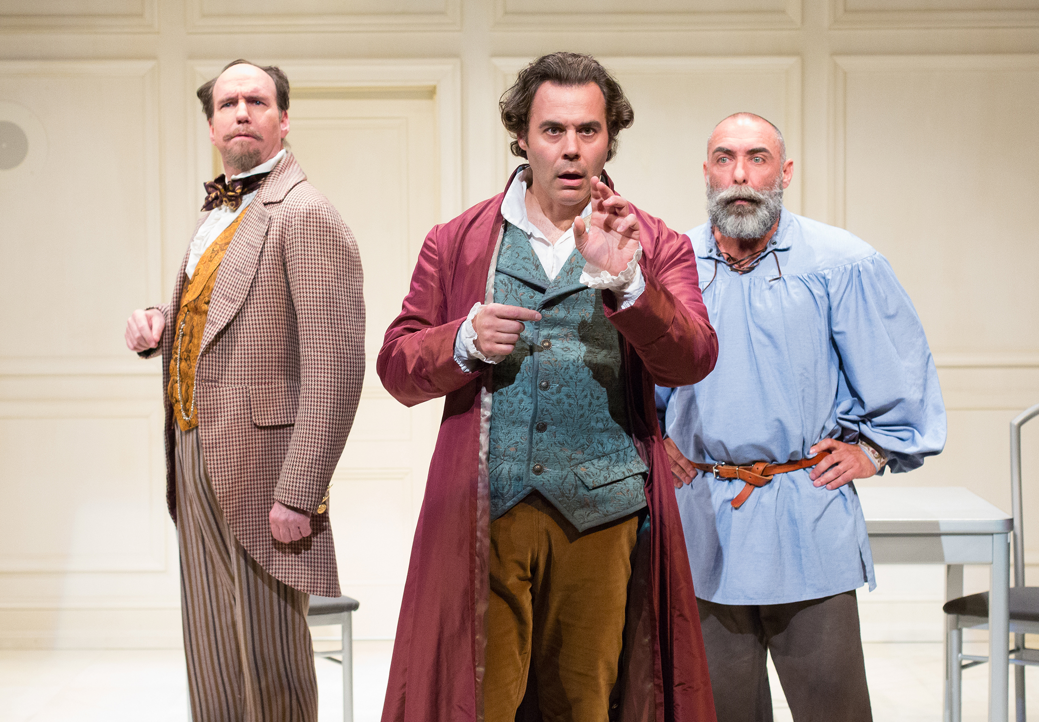 Brian McCann as Dickens, Gregory Isaac as Jefferson, and Andrew Criss as Tolstoy Photo by Mark Garvin