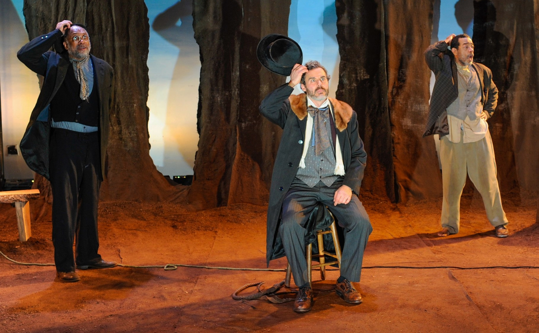 "As ""Pozzo"" with Johnnie Hobbs Jr. as ""Vladimir"" and Frank X as ""Estragon"" in WAITING FOR GODOT at Quintessence Theatre Group.  Photo by Shawn May"
