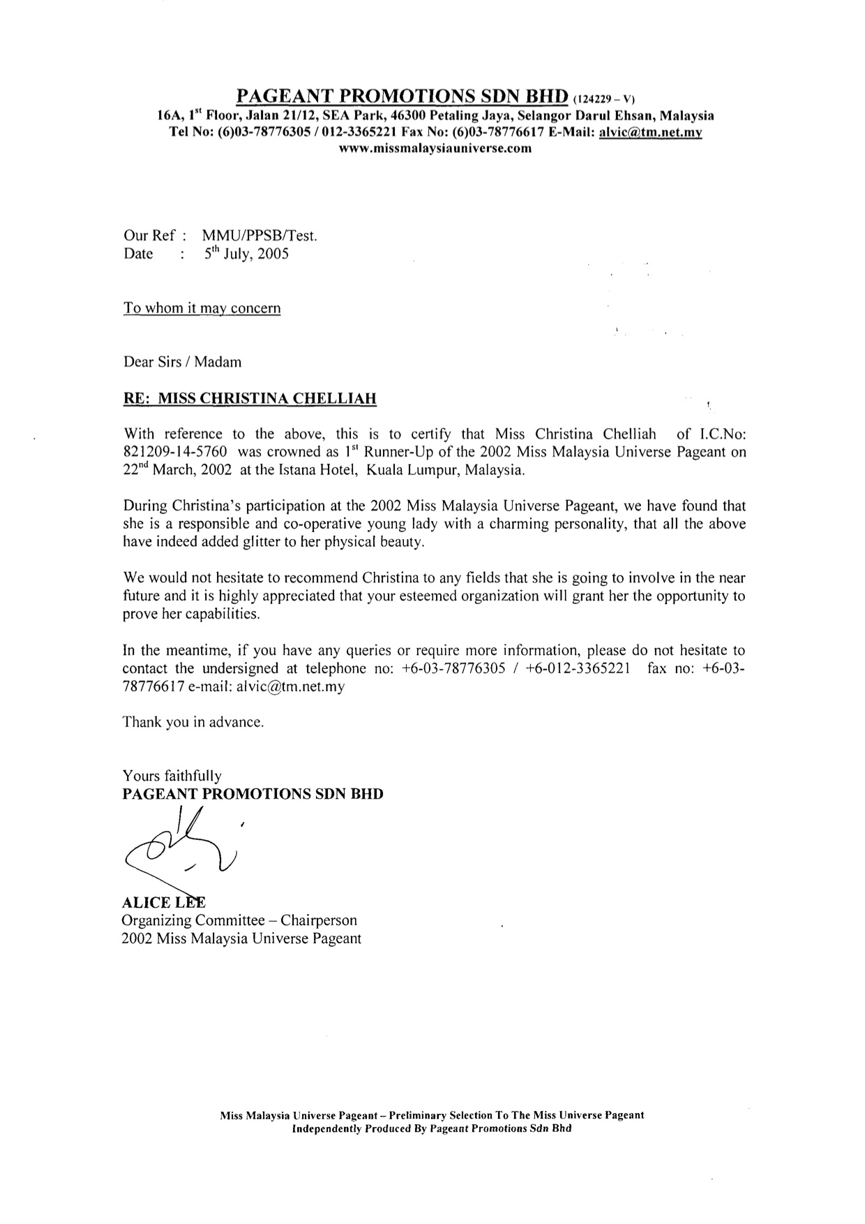 2005 - Modeling - Pageant Promotions Ms Malaysia Universe - Reference Letter.jpg