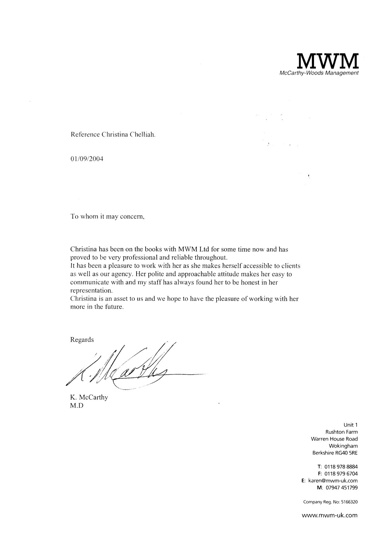 2004 - Modeling - MWM Mc Carthy Woods Management - Reference Letter.jpg