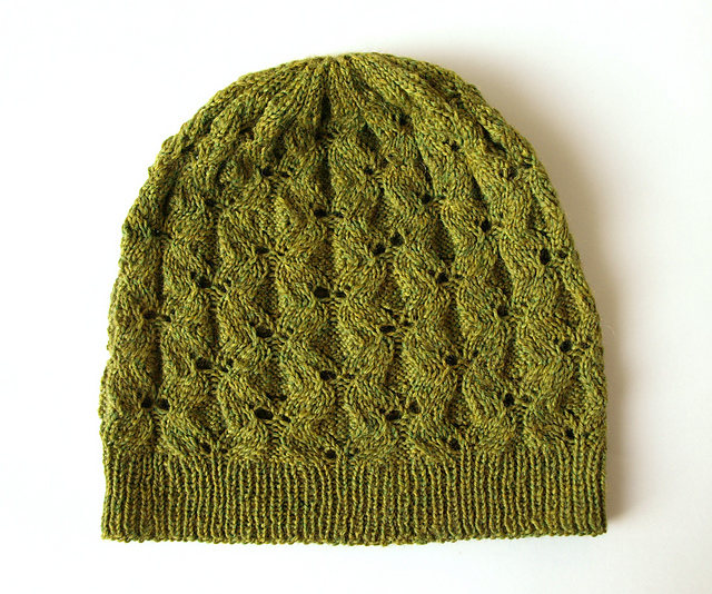 This lovely Avocado Hat pattern by Adela Simova is a wonderful beanie that can be knit longer into a slouch hat as well! Available as a free ravelry download.