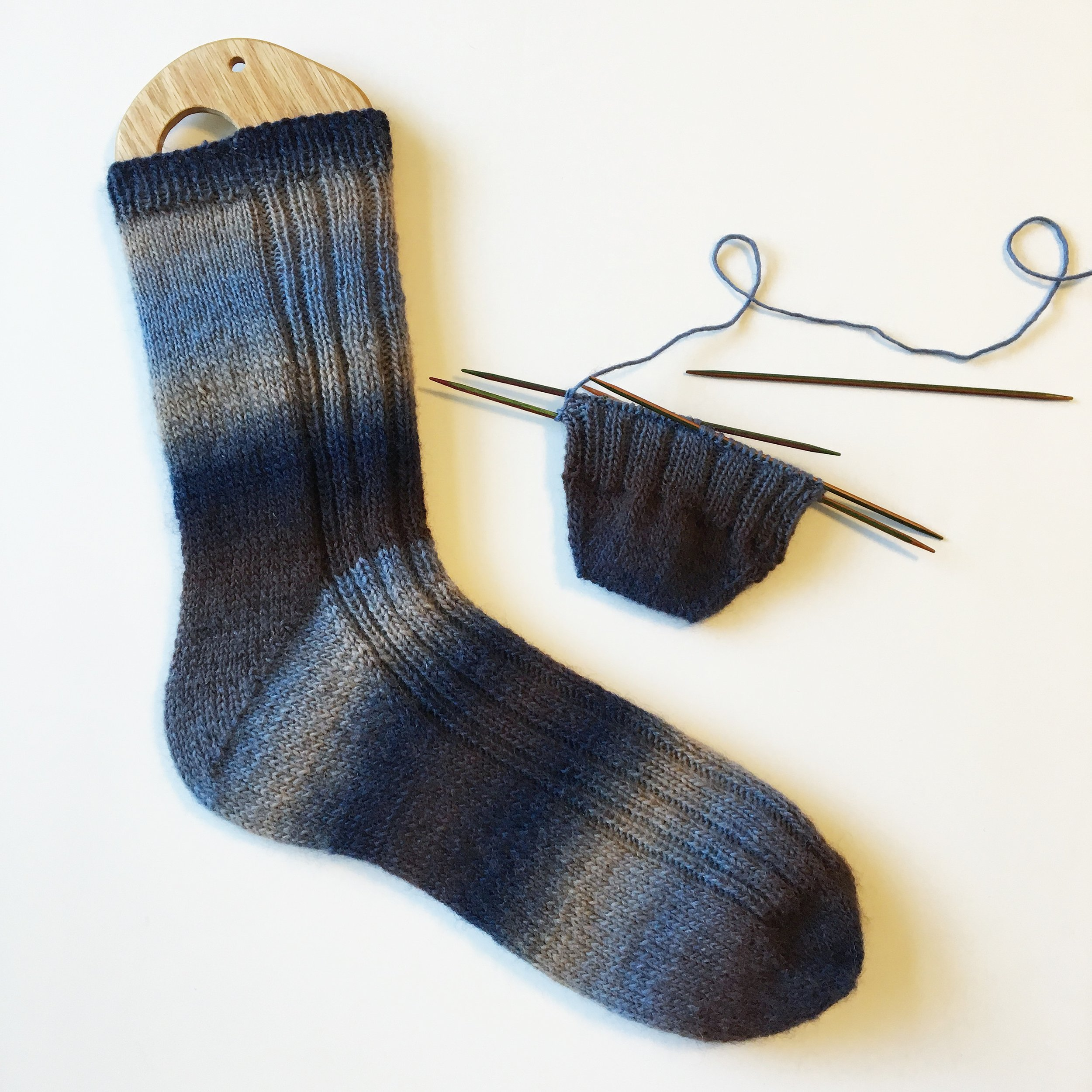 "Our  ""Dad Joke"" Sock pattern  uses this basic sock recipe with the addition of a fading rib on the top of the foot."