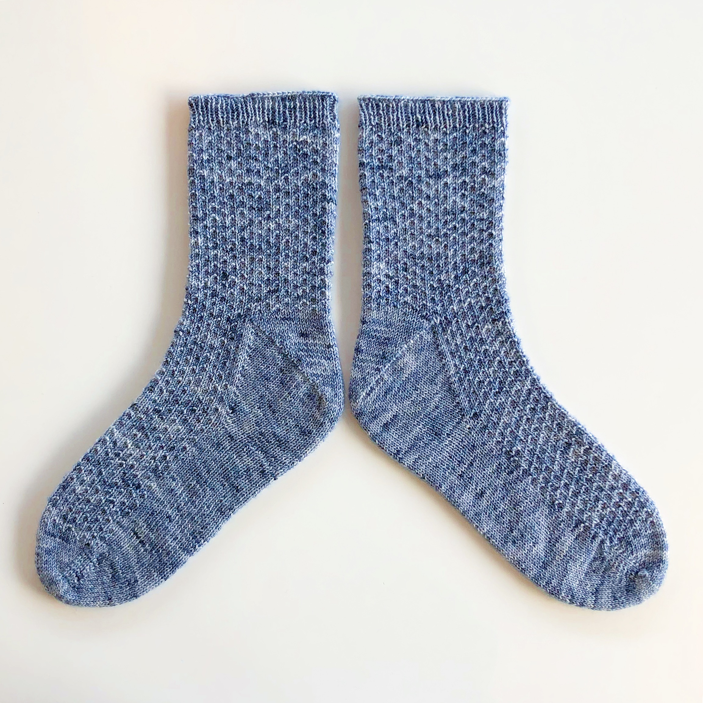 """We borrowed the texture from  """"Hermione's Everyday Socks"""" by Erica Lueder  for this pair using our recipe."""