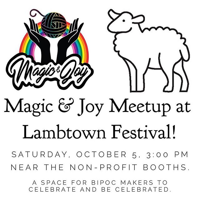 💖💖💖 Last big announcements for @lambtownfestival!! 🧶 First, @yelleyknits is hosting a meetup for BIPOC crafters at the show! It will be a place to discuss the new @magicandjoyretreat, and to get together in a safe space. White allies, please know this space is not for you, but please spread the word if you can! Check out her profile for more info. 🧶 Also, I will be MC'ing the knitting & crochet events in the Fiber Arts Decathlon from 1-4 p.m. today! If you're super fast, can knit or crochet without looking, or if you think you can do it in rubber gloves (haha), then come sign up! Each event can be signed up for individually, they are about half an hour each, and you can win gift certificates for vendor booths! Check out @lambtownfestival's website for sign-up info, and come watch and cheer people on! #kcal #knitalong #crochetalong #knittersofinstagram #bipocmakers #knitting #berkeley #yarnlove #knitstagram #localyarnshop #oakland #crochetlove #crochetaddict #yarn #indiedyedyarn #bipocknitters #specklesaresohotrightnow #knittingcircle #weaversofinstagram #crochetersofinstagram #yarnaddict #knittinglove #knittinglife #knit #crochet #handmadewardrobe #handmade #knittingaddict #crocheting #yarnporn