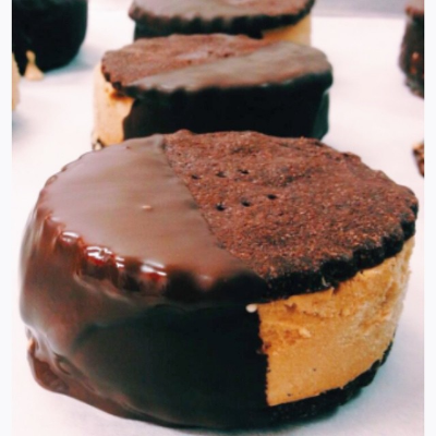 Choc-dipped ice-cream sandwich at Jock's in Albert Park. Image: supplied.