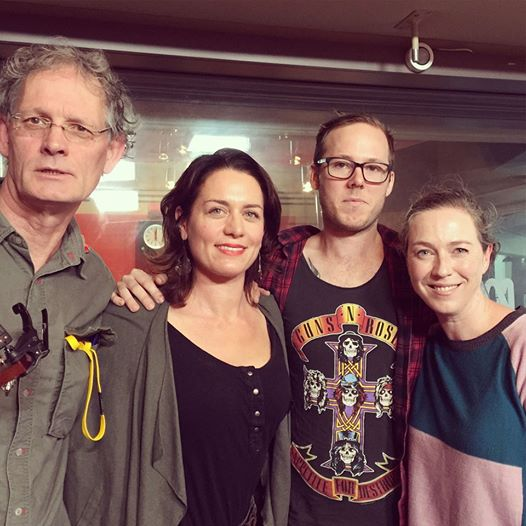 In the ABC Radio studios with fellow guests Greg Champion, chef Chris Watson and singer-songwriter Angie Hart.