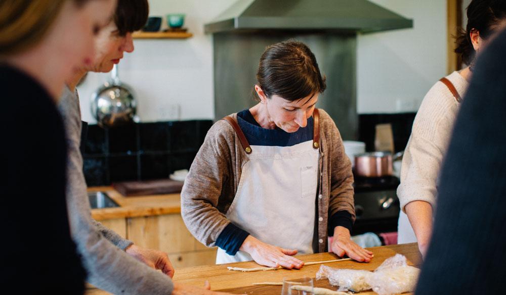 Tamsin Carvan preparing hand-made pasta in her kitchen. IMAGE:  Brenner Lowe .