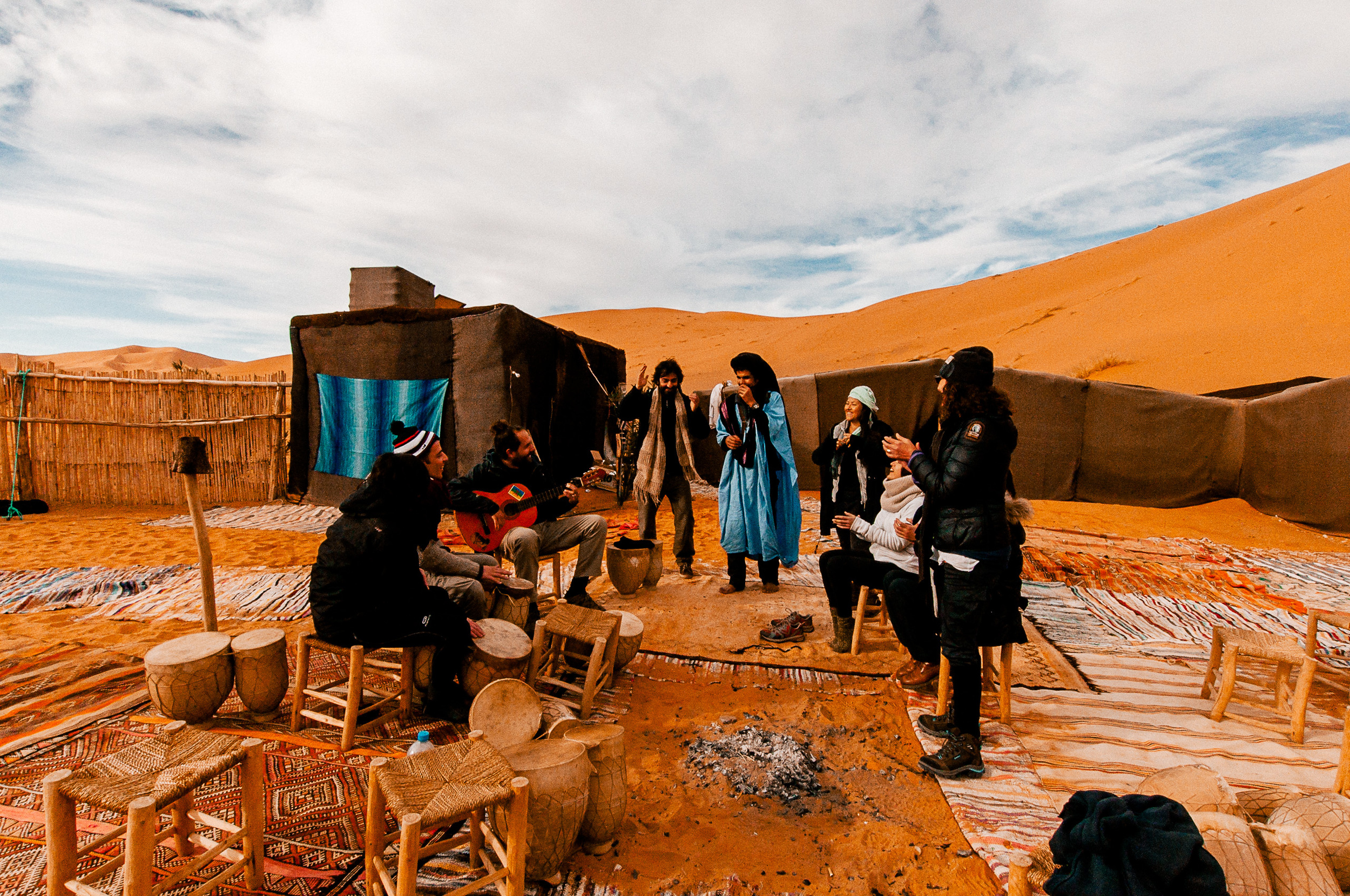 The gang jamming to some music before riding back to Merzouga.