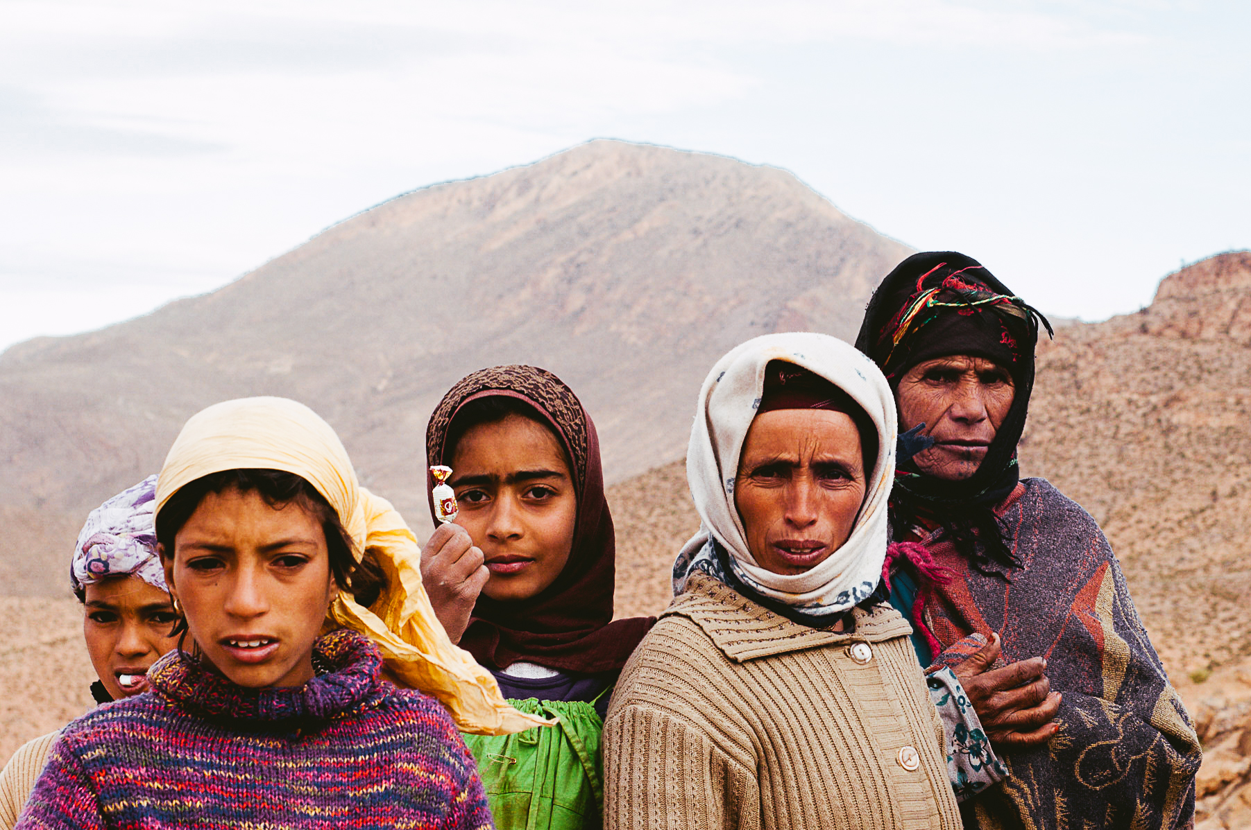 A nomadic family moving in between villages.