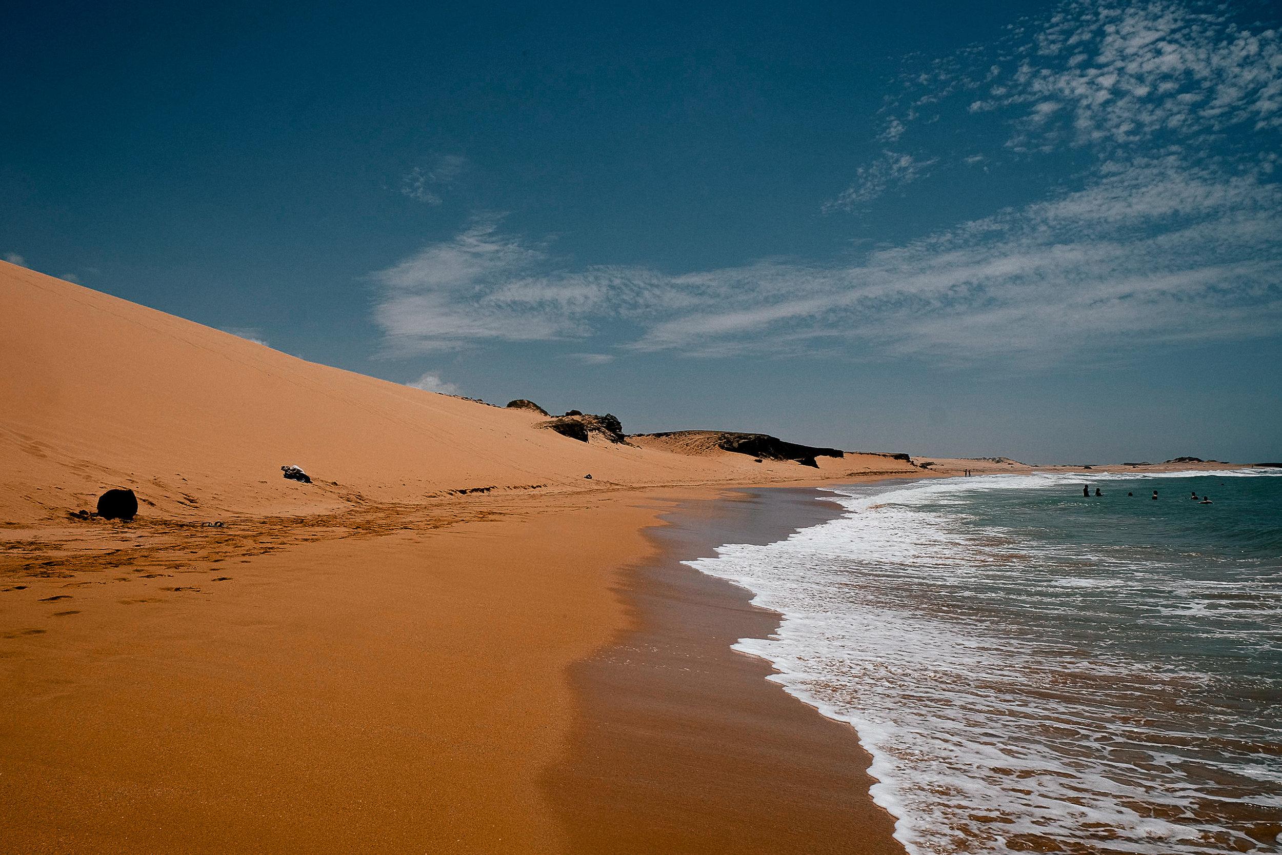 The beach beyond the dunes.
