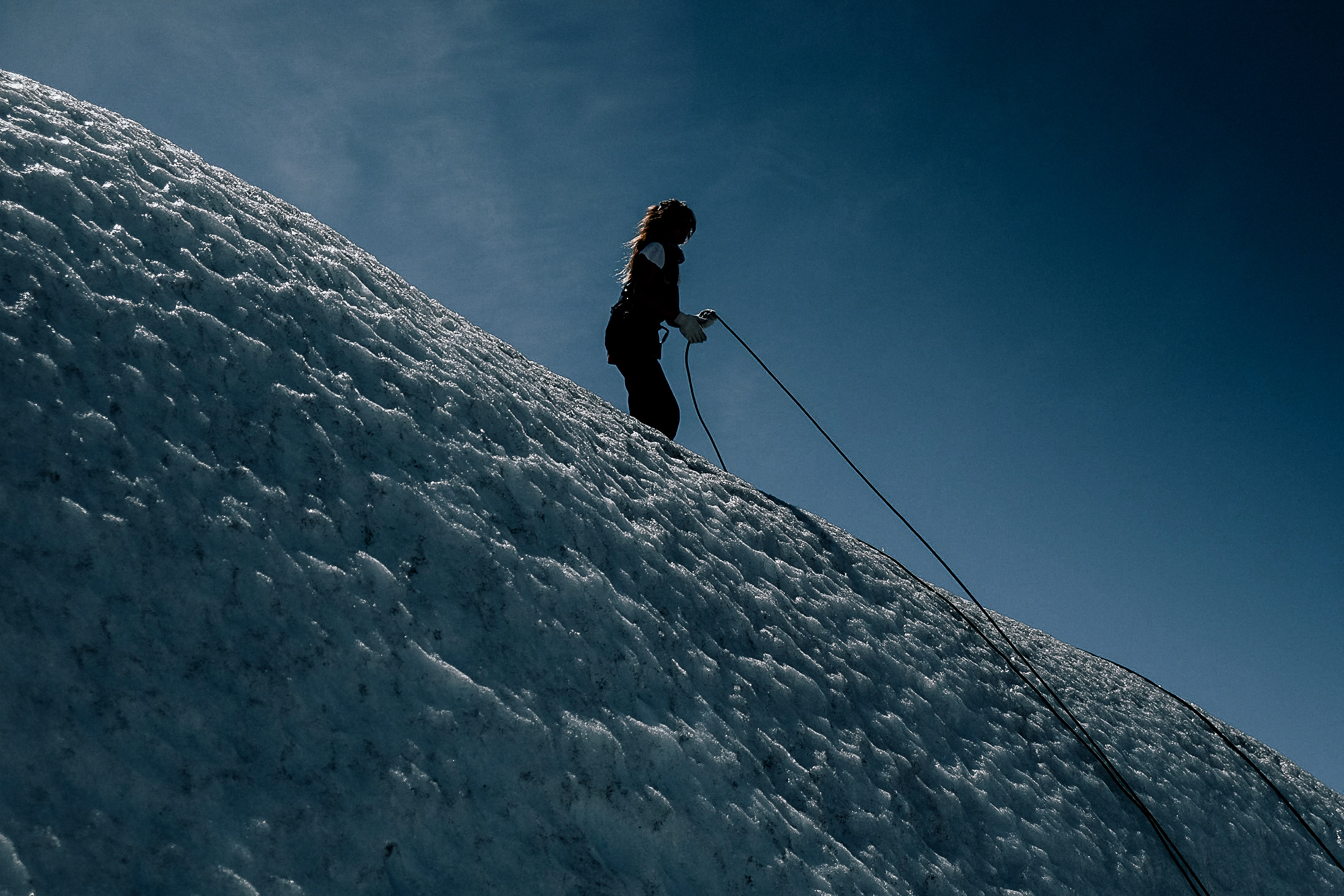 Anchoring the climbers.