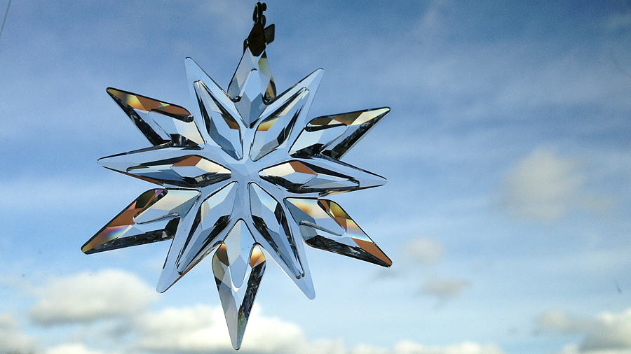 crystal snowflake with a blue sky (c) mark somple 2014