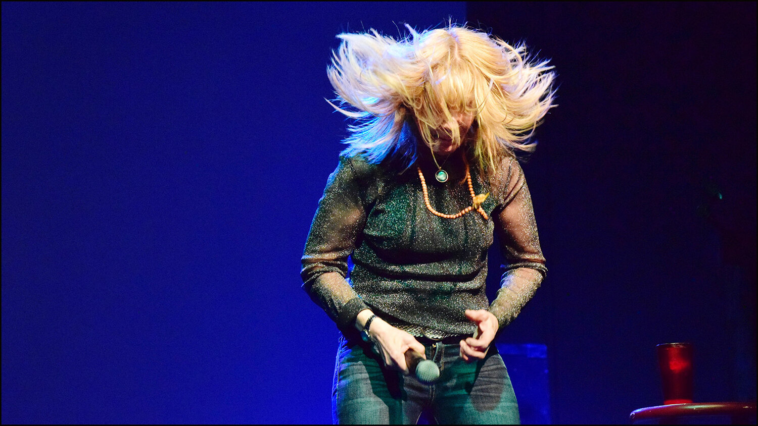 vannessa hollinghead on stage aka- how my brain feels today after dad had a bad night (c) mark somple 2019