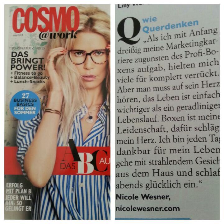 Links: Titelblatt Cosmo@Work; Ausgabe Mai 2015; Rechts: Cosmo@Work; Ausgabe Mai 2015; Seite 10