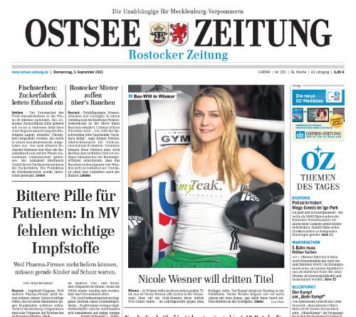 Ostsee-Zeitung Titelblatt am 3.9.2015 in Rostock, Wismar, Rügen, Ribnitz-Damgartner Zeitung, Grevesmühlen, Rügen, Usedom-Peene und Stralsund