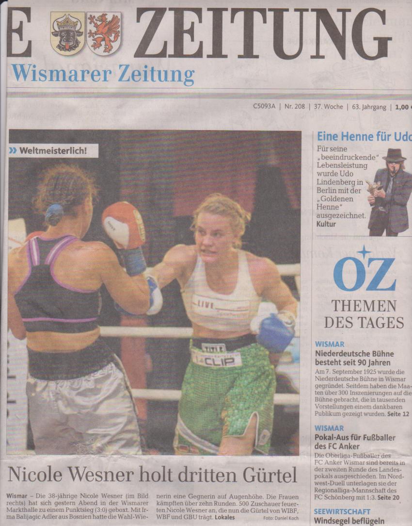 Titelblatt Ostsee-Zeitung 7.9.2015