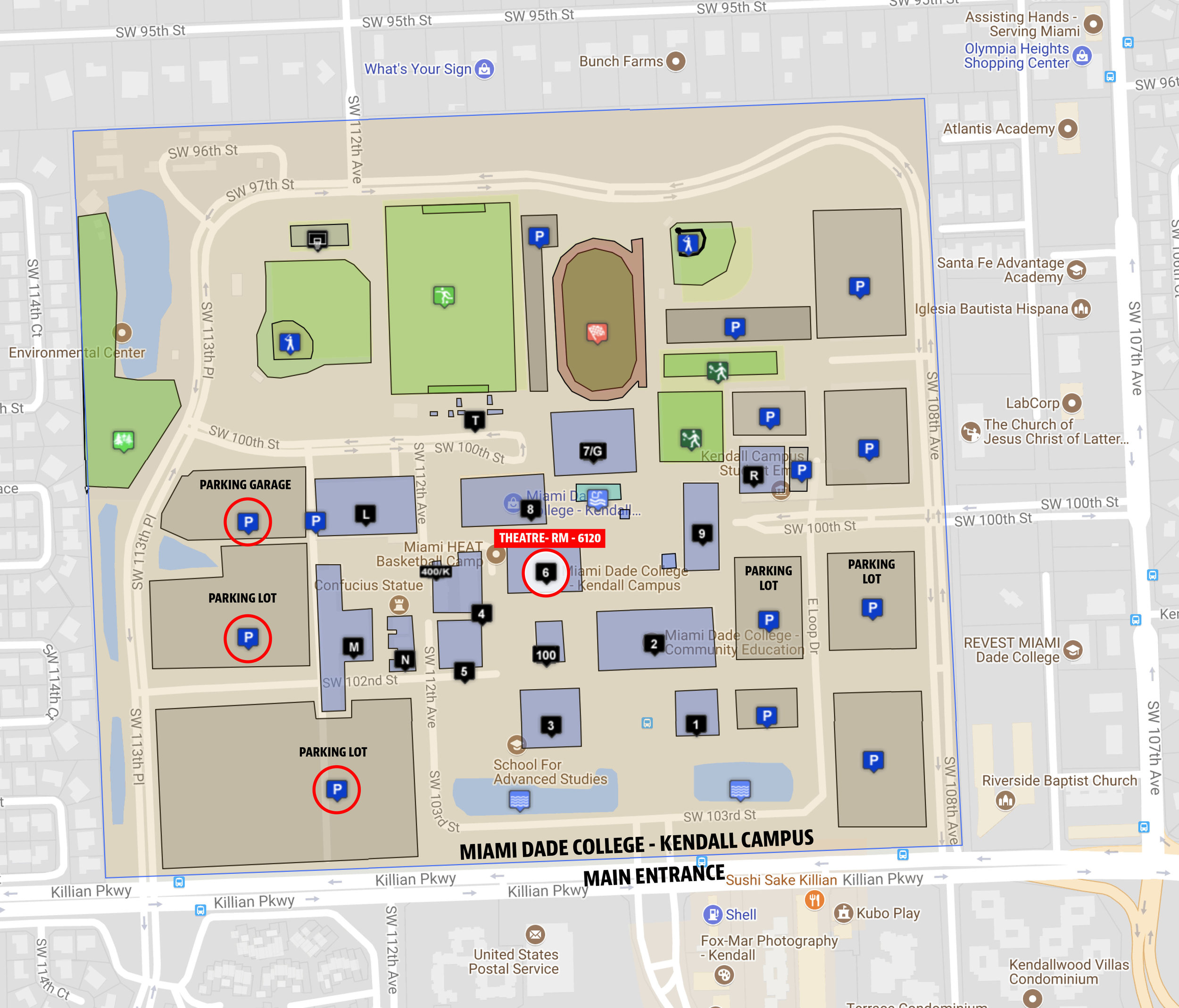 Campus map with theatre room highlighted and recommended parking areas