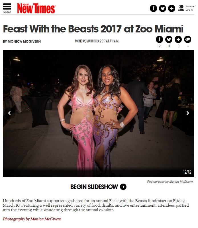 Featured in the Miami New Times after performing at the reputable Feast With The Beasts event in Zoo Miami