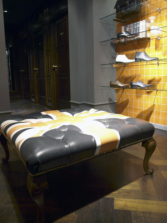 Ben Sherman upholstered the leather prints into Ottomans and they were shipped to flagship stores around the world.